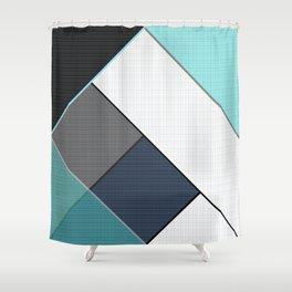 Grey-blue-black pattern . Abstraction . Patchwork . Shower Curtain
