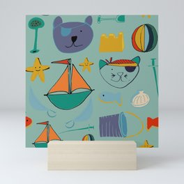 cat and bear at the beach blue green Mini Art Print