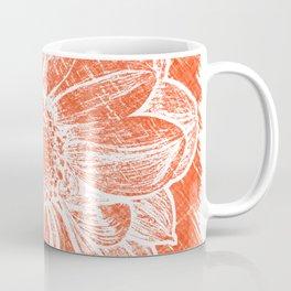 White Flower On Pumpkin Orange Crayon Coffee Mug