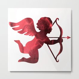 Cupid With Arrow, Eros and Psyche, Cupid Valentine Print, Valentine's Day Red Cupid Home Decor Metal Print