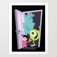 monsters inc Art Prints featuring Monsters inc. by Maria Jose Da Luz