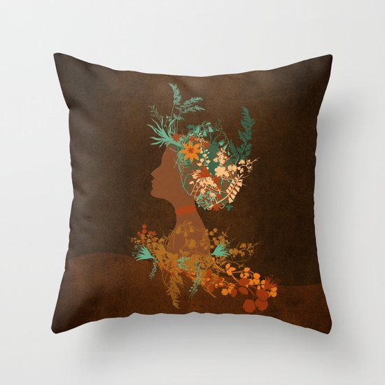 Mujer floral Throw Pillow
