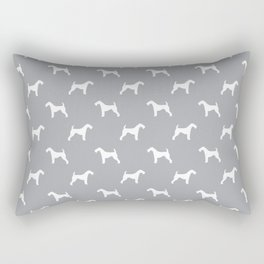 Airedale Terrier grey and white minimal dog pattern dog silhouette pattern Rectangular Pillow