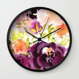 Ziva Watercolor Floral Flowers Wall Clock