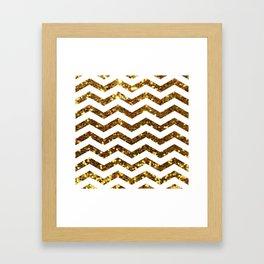 Golden Sparkle Zig Zag Stripes Framed Art Print