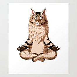 Yoga Maine coon Cat Art Print