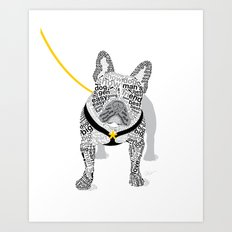 Typographic French Bulldog - Black and White Art Print