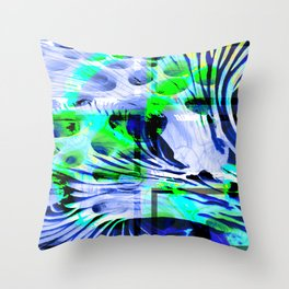 Collage with circles and curved lines Throw Pillow