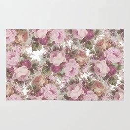 Vintage blush pink burgundy roses floral painting Rug