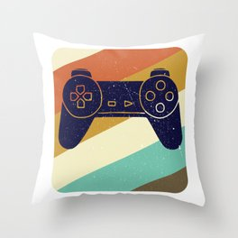 Retro Vintage Design With Controller Video Game Lover's Gift Throw Pillow