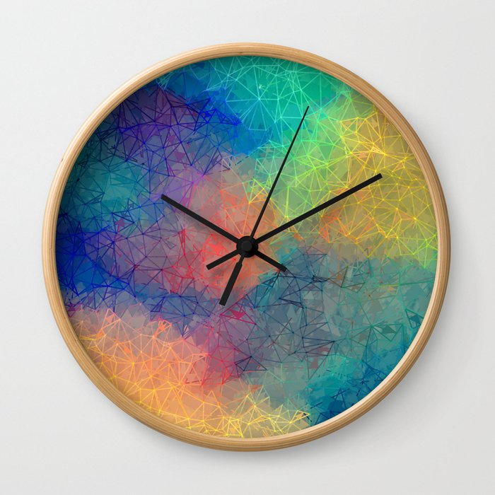 Reflecting Multi Colorful Abstract Prisms Design Wall Clock