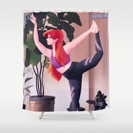 Yoga for your mental health - yoga love Shower Curtain