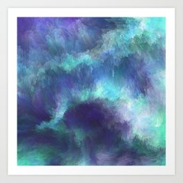 Abstract Painting - Space Nebula Storm Clouds Aurora Borealis Art Print