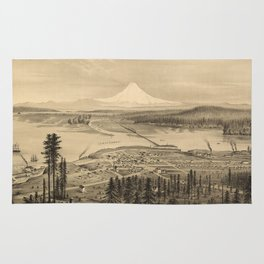 Vintage Pictorial Map of Tacoma Washington (1878) Rug