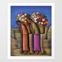 Magnificent 'Las Floreras' by Alfredo Martinez Art Print