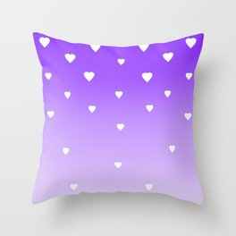 Purple Ombre with White Hearts Throw Pillow