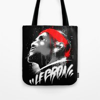 lebron Tote Bags featuring Lebron J by squadcore
