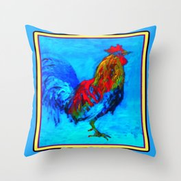 Colorful Rooster Painting in Blues. Throw Pillow