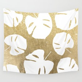 Tropical white monstera leaves on gold glitter ombre faux gold foil Wall Tapestry
