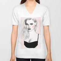 lara croft V-neck T-shirts featuring Lara by Katie Jagielnicka