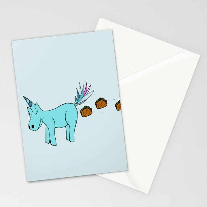 Unicorn Pooping Tacos Stationery Cards