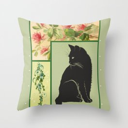 Patchwork Flowers and Cat Throw Pillow