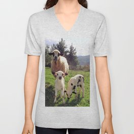 Ewe and Twin Spring Lambs Unisex V-Neck