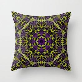 Purple Yellow and Black Kaleidoscope Throw Pillow