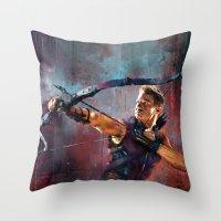 clint barton Throw Pillows featuring Clint Barton by Wisesnail