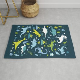 Kawaii Dinosaurs in Blue + Green Rug