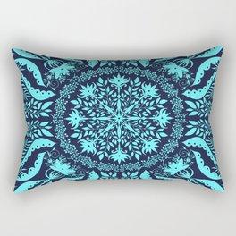 Dark Teal Botanical Folk Tile Rectangular Pillow