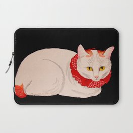 Shotei Takahashi White Cat In Red Outfit Black Background Vintage Japanese Woodblock Print Laptop Sleeve