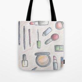 MAKE-UP - pencil and coloured pencil illustration Tote Bag