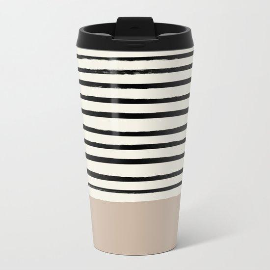 Latte & Stripes Metal Travel Mug