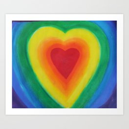 Rainbow Heart Love with Purple Art Print