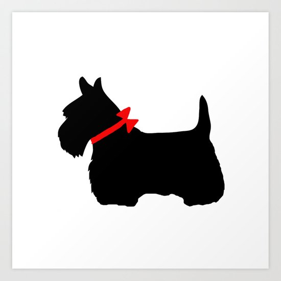Scottie Dog with Red Bow by mariannamills