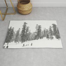 Sledding // Snowday Winter Sled Hill Black and White Landscape Photography Ski Vibes Rug