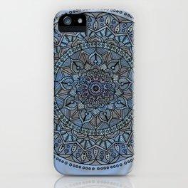 Circle of Life Mandala full color on blue swirl iPhone Case