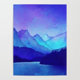 Cerulean Blue Mountains Poster