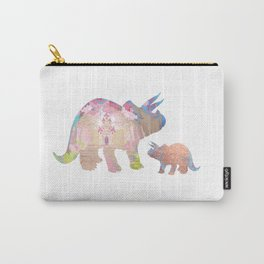 Fairytale Pink Castle Copper Glitter Dinosaur Carry-All Pouch