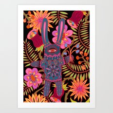 Rabbit in a Garden Art Print