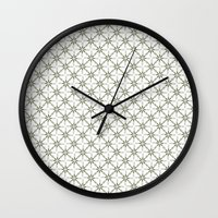 flower pattern Wall Clocks featuring Flower pattern by Yasmina Baggili