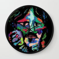 dave grohl Wall Clocks featuring Self portrait as Dave Grohl by brett66