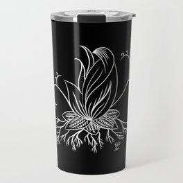 Floral black lotus fantasy art Travel Mug