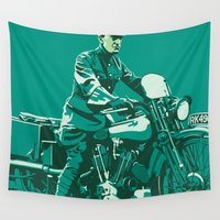 arab Wall Tapestries featuring T.E. Lawrence on his Brough Superior by Saddle Bums