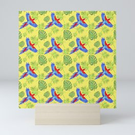 watercolor tropical pattern parrot macaw yellow background Mini Art Print