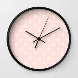 Vintage pastel coral white abstract floral pattern Wall Clock