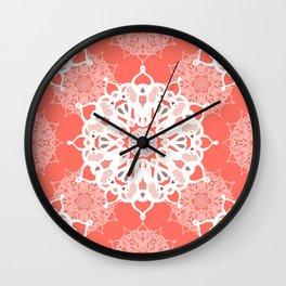 Coraled Mandalas Wall Clock