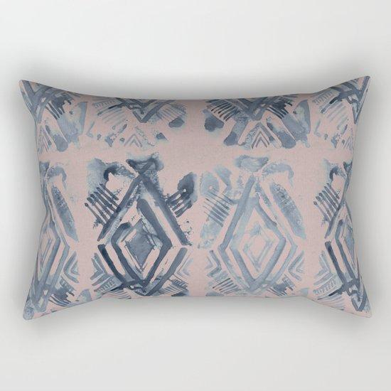 Simply Ikat Ink in Indigo Blue on Clay Pink Rectangular Pillow