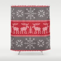 sweater Shower Curtains featuring Sweater Weather by K&C Design